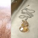 Pezsgő fürt hosszú gyöngy nyaklánc, Ékszer, Nyaklánc, Szépségesen csillogó pezsgőszínű akril csiszolt gyöngyből, sárga, rózsaszín, és pezsgő színű cseh cs..., Meska