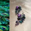 Lila-zöld peacock drótékszer fülbevaló, Ékszer, Fülbevaló, Kék és zöld színű üvegtekla gyöngyökkel, tigrisszemekkel, ametiszttel, cseh csiszolt és kásagyöngyök..., Meska