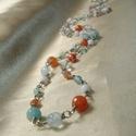 Narancs-kék-fehér hosszú nyaklánc, Ékszer, Nyaklánc, Narancs achát, világoskék akvamarin, fehér tridacna kagyló gyöngy, narancs színű  fazettált apró ach..., Meska