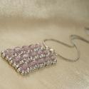 Orgona - halványlila-ezüst gyöngy téglalap medál, nyaklánc, Ékszer, Nyaklánc, Halványlila cseh csiszolt gyöngyökből és matt ezüst kásagyöngyökből készített téglalap medál. Mérete..., Meska