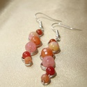 Narancs-rózsaszín ásvány fülbevaló, Ékszer, Fülbevaló, Narancs és rózsaszín acátokkal, bosi jadéval és karneollal díszített ezüstözött drótékszer fülbevaló..., Meska