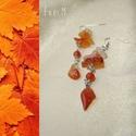 Narancs karneol ásvány fülbevaló, Narancs árnyalatú karneol ásvány splitterekkel...