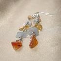 Sunset színes ásvány fülbevaló, Ékszer, Fülbevaló, Négyféle ásvány splitter felhasználásával készített hosszú drótékszer fülbevaló. - világoskék akvama..., Meska