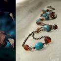 Kék-barna gyöngyös hosszú drótékszer nyaklánc, Ékszer, Nyaklánc, Türkizkék színű fa gyöngyökkel, világoskék és barna cseh csiszolt gyöngyökkel, barna üvegtekla gyöng..., Meska