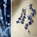 Lapis lazuli karkötő és fülbevaló szett, ásvány, drótékszer, Ékszer, Ékszerszett, Lapis lazuli ásvány splitterekből készített drótékszer karkötő és hosszú fülbevaló szet..., Meska