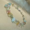 Pasztell rainbow ásvány karkötő, Tavaszi pasztell karkötő szivárvány színekben...