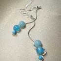Trio wave hosszú fülbevaló kék ásványokkal, 6 mm-es amazonittal, acháttal és 4 mm-es rekonst...