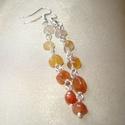Karneol ombre hosszú fülbevaló, Narancs-fehér színátmenetes fülbevaló kb. 5 m...