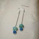 Zöld-kék duo hosszú ásvány fülbevaló, 6 mm-es pasztell zöld és 4 mm-es középkék ach...