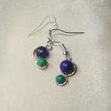 Kék-zöld ásvány duo fülbevaló, 6 mm-es sötétkék lápisz lazuli és 4 mm-es zö...