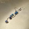 Blue berries hosszú kék ásvány fülbevaló, 4 mm-es kék achát ásvány gyöngyökkel díszí...