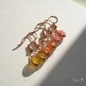Ásvány fülbevaló csomag, 3 pár, mono, vörösréz, 6 mm-es sáfrány sárga achát, narancssárga já...