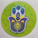 Fatima keze kristálymandala, Dekoráció, Kép, Festett tárgyak, 30 cm átmérőjű üvegre festett mandala ásványokkal(ametiszt, fluorit, gyöngyház, lapis lazuli) díszí..., Meska