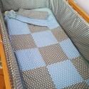 Újszülött szett kiságyba, Baba-mama-gyerek, Gyerekszoba, Varrás, A teljes szett egy újszülött kisfiú részére készült. Az ágyat teljesen körbe ölelő rácsvédő került,..., Meska