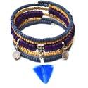 Vidám őszi fesztivál karkötő acháttal, Ékszer, Karkötő, A memória karkötő alapra lila korong alakú achát gyöngyöket, kék és natúr apró fagyöngyöket, valamin..., Meska