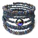 Norina karkötő, Ékszer, Karkötő, A memória karkötő alapra különleges matt lila farfalle gyöngyök és két ezüst köztes közé egy egyedi ..., Meska