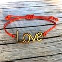 Szerelmes szívek karkötő, Ékszer, Esküvő, Karkötő, A piros színű viaszos szálra bronz színű LOVE feliratú medált tettem. Az ékszer csúszócsomóval záród..., Meska