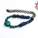 Mocsári úrnő nyaklánc ásványokkal, Ékszer, Nyaklánc, A nyaklánc lápisz lazuli, krizokolla ásvány gyöngyök, bronz közteseket és egy különleges zöld színű ..., Meska