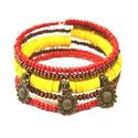 Vidám őszi napsütés karkötő acháttal, Ékszer, Karkötő, A memória karkötő alapra sárga korong alakú achát gyöngyöket, piros és barna apró fagyöngyöket, vala..., Meska