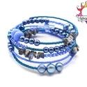 Nagy kékség karkötő lápisz lazulival, A memória karkötő alapra lápisz lazuli splitte...
