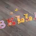 BELLA BABABETŰK, Baba-mama-gyerek, Dekoráció, Gyerekszoba, Baba falikép, Mindenmás, Dekorgumiból készítem a betűket, kartonra vannak felragasztva, aranyos figurákkal, masnikkal, hunga..., Meska