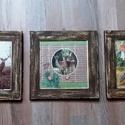 Az erdő lakói kép szett , vadászoknak,férfi ajándék szülinapra, karácsonyra, Dekoráció, Otthon, lakberendezés, Férfiaknak, Kép, 3 db gipsz kép egy szettben. A kép decoupage technikával készült. A keretet két rétegben fest..., Meska