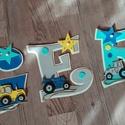 GERGŐ - 15cm traktoros ,Bababetű, nevek, babaváró, fiúcska, Baba-mama-gyerek, Dekoráció, Otthon, lakberendezés, Gyerekszoba, Dekorgumiból készűlt, akril festékkel, aranyos figurákkal,hungarocell golyókkal vannak díszítve. hát..., Meska