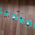 ZÉTÉNY- Babanév, babaváró, bababetű, falmatrica, Baba-mama-gyerek, Dekoráció, Otthon, lakberendezés, Gyerekszoba, Mindenmás, Festészet, Dekorgumiból készűlt, akril festékkel és aranyos figurákkal vannak díszítve.  Mérete 11 cm  Hátolda..., Meska