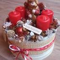 Adventi box ANGYALOM Karácsonyi asztaldísz, doboz, Dekoráció, Otthon, lakberendezés, Ünnepi dekoráció, Asztaldísz, Virágkötés, Nem lehet megunni a tipikus karácsonyi színeket...!!! Háncsdobozba készitettem ezt a díszt, sokféle..., Meska