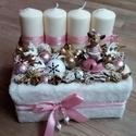 Adventi box, PINK WINTER Karácsonyi asztaldísz, doboz, Dekoráció, Otthon, lakberendezés, Ünnepi dekoráció, Asztaldísz, Virágkötés, Havas - pinkes hangulatban készítettem a díszt. Hogy a Karácsonyba is becsempésszük a rózsaszint :-..., Meska
