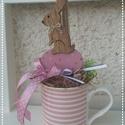 Nyuszis Tavaszfa nem csak Húsvétra, névnapra, Dekoráció, Húsvéti díszek, Otthon, lakberendezés, Asztaldísz, Virágkötés, Egyedi asztaldíszt készítettem egy pasztell színű bögre, hungarocell golyó segítségével.  Kellemes ..., Meska