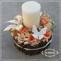Erdei fények VANÍLIA virágbox asztaldísz , Dekoráció, Otthon, lakberendezés, Esküvő, Asztaldísz, Mindenmás, Virágkötés, Őszi estékre gondolva készítettem ezt a szép gyertyás asztaldíszt.  A dobozt körbe ragasztottam faá..., Meska