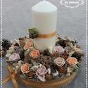 Őszi virágoskert virágbox asztaldísz , Dekoráció, Otthon, lakberendezés, Esküvő, Asztaldísz, Mindenmás, Virágkötés, Őszi estékre gondolva készítettem ezt a szép gyertyás asztaldíszt.  A dobozt körbevontam juta szala..., Meska