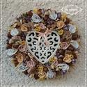 Romantikus - Ajtódísz 28 cm, Kopogtató, Névnapi, Házavatóra, Pasztell - beige színvilág kedvelőinek ajánlom...