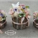 Tavaszi púderes szett  virágbox asztaldísz , Púderes vidám szines asztaldíszek.  A dobozokat...
