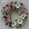 Vintage pasztell tavaszi kopogtató ajtódísz, Baba-mama-gyerek, Dekoráció, Otthon, lakberendezés, Konyhafelszerelés, Virágkötés, A szalmaalapot bevontam , majd saját gumivirágokkal, selyemvirágokkal, termésekkel, kócgolyókkal, f..., Meska