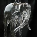 Szürreális stilusu, Dali ihletésű elefánt térplasztika üvegből., Mindenmás, Képzőművészet, Furcsaságok, Szobor, Üvegművészet, Szobrászat, Teljesen saját tervezésű és saját készítésű darab.Üreges áttetsző üveg alapanyagból és belülről fek..., Meska