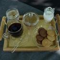 Kávés szett (egyszemélyes,8darabos), Konyhafelszerelés, Otthon, lakberendezés, Bögre, csésze, Üvegművészet, Igényes kávés-szett ami összesen nyolc darabból áll. Azonos stílusú tej, cukor, süti, víz és a kávé..., Meska