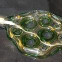 Parfümös üveg (zöld), Mindenmás, Szépségápolás, Furcsaságok, Kozmetikum, Üvegművészet, Elsősorban táskába való lapos újratölthető, menetes pumpával ellátott különleges parfümös üveg mely..., Meska