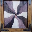 Fali óra ablakkeretben 2#, Otthon, lakberendezés, Falióra, óra, Elmosódott pasztell színek újrahasznosított idő-rágta ablakkeretekben. Mérete: 39* 34 cm, Meska