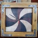 Fali óra ablakkeretben 4 #, Otthon, lakberendezés, Falióra, óra, Elmosódott pasztell színek újrahasznosított idő-rágta ablakkeretekben. Mérete: 32* 30 cm, Meska