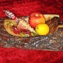 Téli party elegáns rusztikus tölgy fa hullámos natúr egyedi faragott fatörzs hangulat  fatál fatálca tálaló