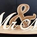 Esküvöi felirat Mr és Mrs asztali 08, Esküvő, Esküvői dekoráció, Esküvői felirat Mr&Mrs asztali kivitel .  Mérete :40*15*10 cm . Anyaga falemez 4 mm Mr&Mrs 8 mm talp..., Meska