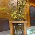 Rusztikus váza, Befőttes üveg váza rusztikus fa kerettel. Az ü...