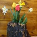 Tuskóból készült váza, Akác tuskóból készült különleges virágtart...