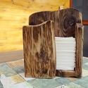 Pzs. tartó, Tömör fából készült asztali, rusztikus papí...