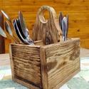 Evőeszköz tartó, Fából készült rusztikus evőeszköz tartó. 1d...