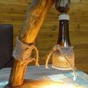 Egyedi Lámpa, Otthon & Lakás, Lámpa, Asztali lámpa, Famegmunkálás, Tölgyfa talpon akácfa lámpaággal készült egyedi rusztikus lámpa. Hálózati vezetékkel és kapcsolóval..., Meska