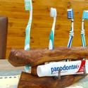 Egyedi fogkefetartó, Abszolút egyedi almafából készült fogkefe tar...