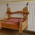Cicaágy radiátorra, Fából készült rusztikus jellegű cicaágy. Puh...